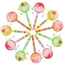 Smile Face Baby Rattle Toys Cartoon Hand Bell Musical Instrument Rattle Drum Spin Toys For baby 1-12 months Brinquedos