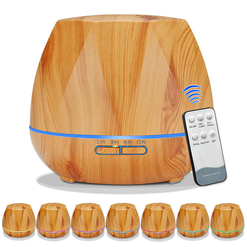 550ML Remote Control Essential Oil Aroma Diffusers Cool Mist Humidifier With Wood Grain 7 Color LED Lights For Home Office