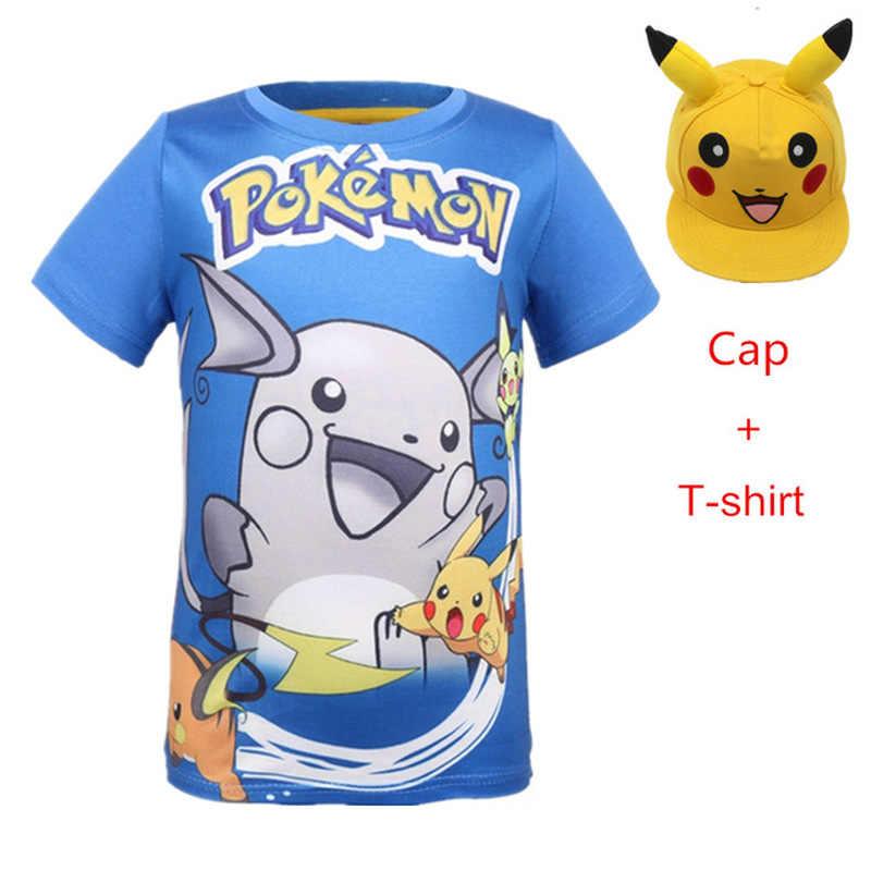 Футболка с изображением детектива Пикачу + Кепка для мальчиков, футболка с 3D-принтом «Покемон» летние футболки, желтые топы для девочек, детская спортивная одежда
