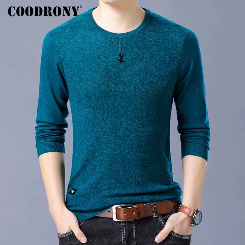 COODRONY Brand Sweater Men Knitwear Pull Homme Streetwear Casual Button O-Neck Pullover Men Autumn Winter Cotton Sweaters 91056