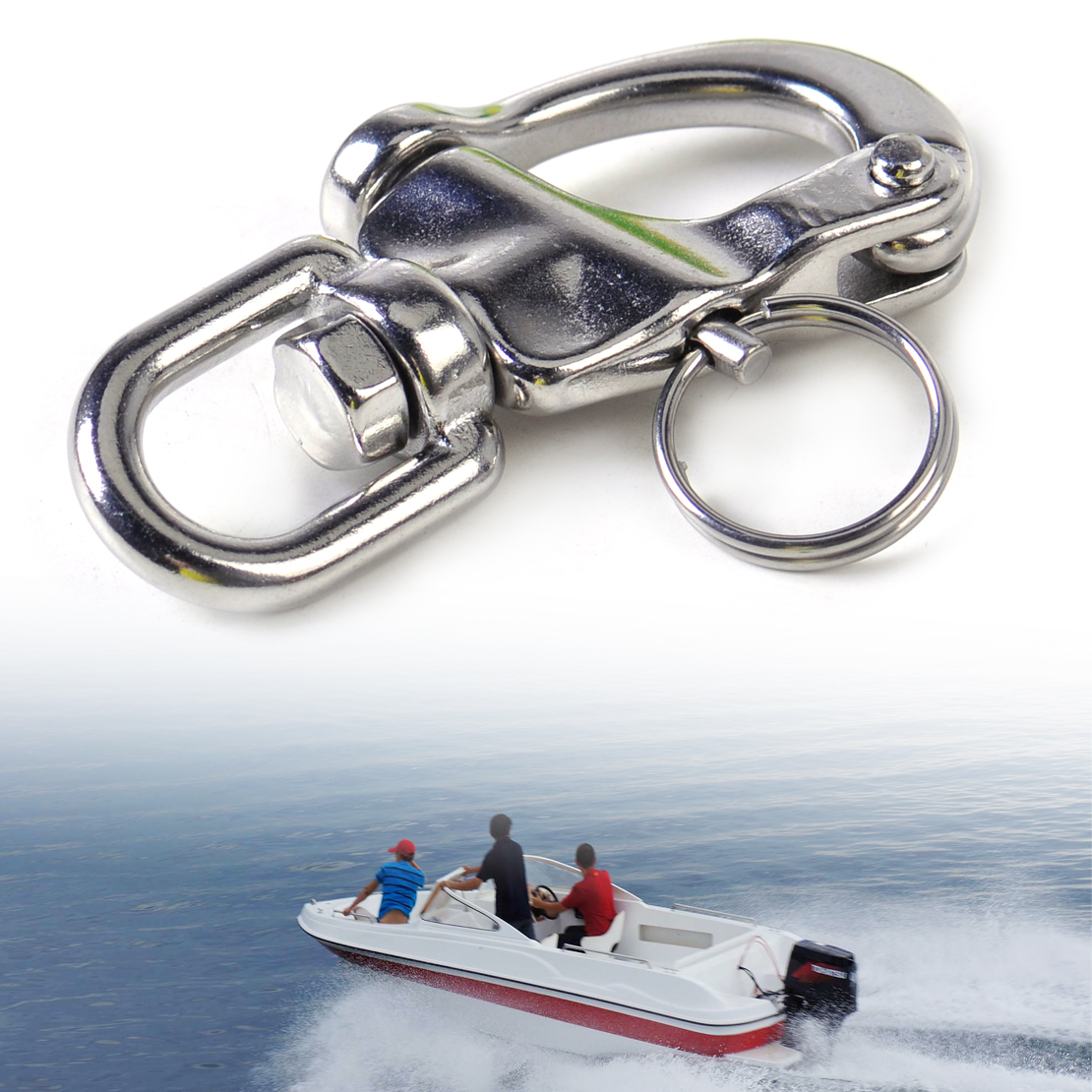 DWCX New 7 cm Stainless Steel Heavy Duty Snap Shackle D Ring Swivel Bail Fit for Marine Boat Yacht Sailing Hardware
