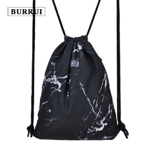 Luggage Bags - Drawstring Bags - BURRUI Women Drawstring Bag Backpack Black Marble Texture Printed Backpacks Canvas Travel Bags Boys Girls Stone School Bags