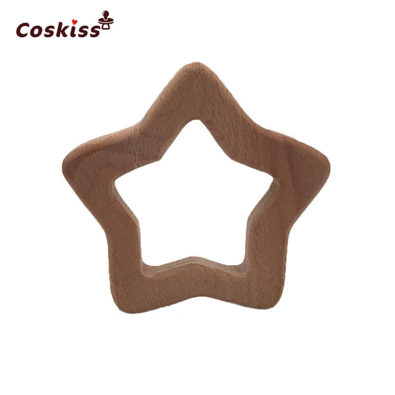 10pcs Baby teether Handmade Beech Wooden Star Teether Baby Teething Toys DIY Crafts Pendant Chewable Pacifier Chain Accessories
