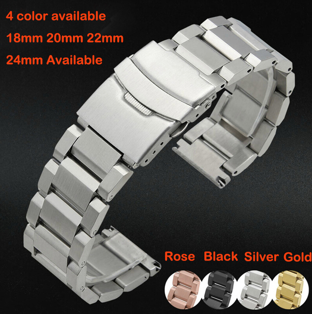 2015 Watch band 18mm 20mm 22mm 24mm New Mens Silver Heavy Solid Stainless Steel Bracelet Watchbands Double Flip Lock Clasp