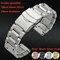 2015 de 18 mm 20 mm 22 mm 24 mm New Mens prata pesado sólido aço inoxidável pulseira pulseiras dupla virar bloqueio fecho