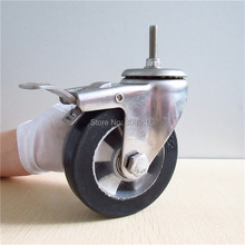 hot 4 inch stainless steel casters Double Ball Bearing Aluminum Core Elastic Rubber medium Duty Caster Wheel with screw brake цены