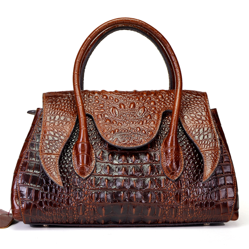 Oil Wax Cowhide Women Cross Body Business Tote Handbag Genuine Leather Crocodile Pattern Lady Messenger Shoulder