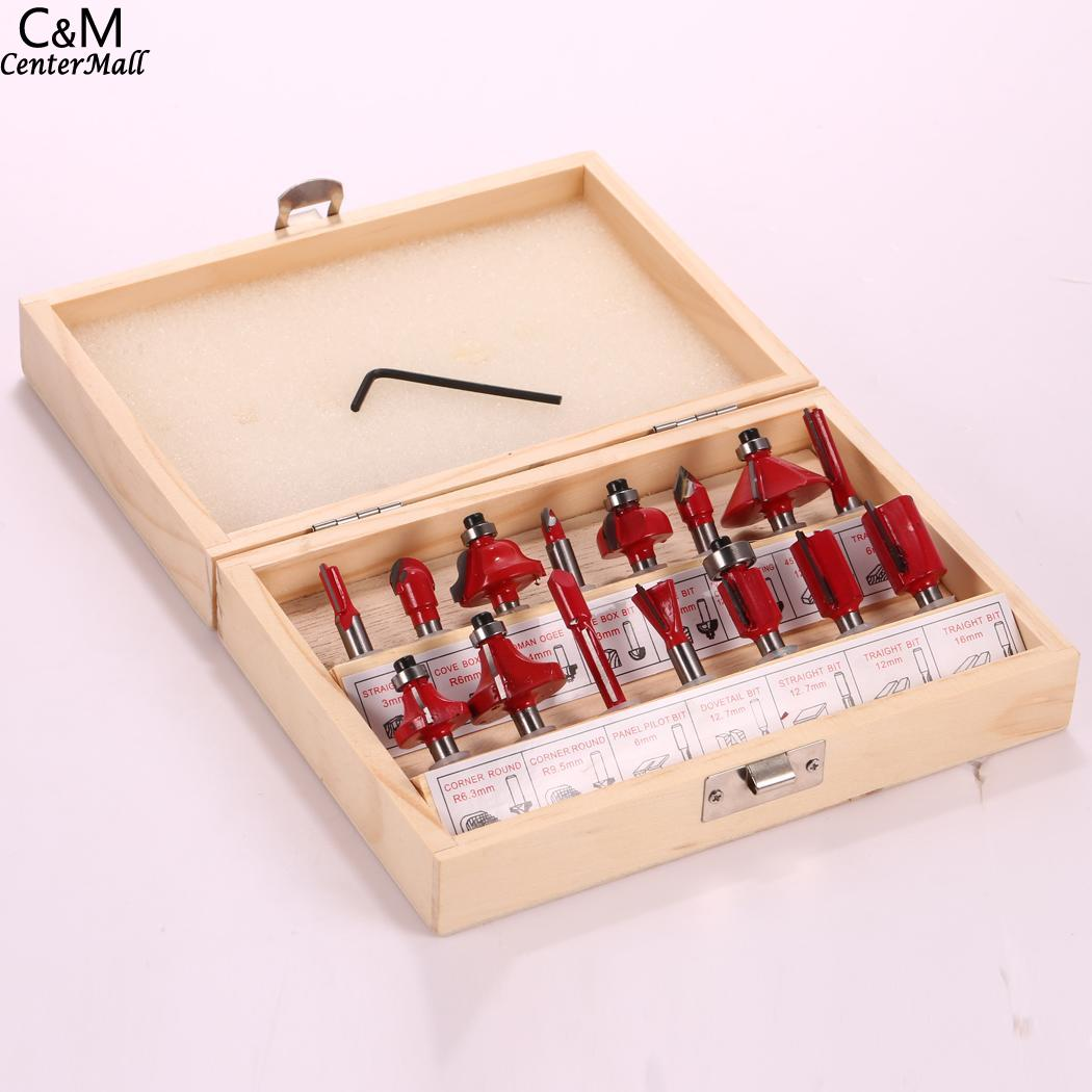 12 Pcs/case Milling Cutter Tool 8mm Shank Cemented Carbide Router Bit Woodworking Cutter Bit Set with Wood Case Box 16pcs 14 25mm carbide milling cutter router bit buddha ball woodworking tools wooden beads ball blade drills bit molding tool