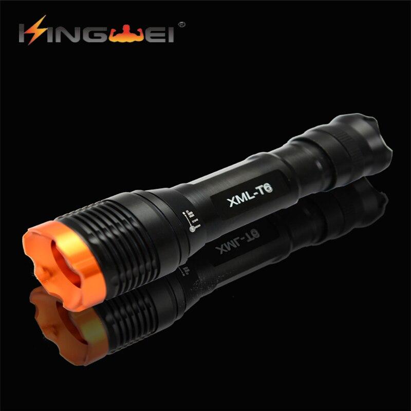 Cree <font><b>LED</b></font> Aluminum Flashlight <font><b>2500</b></font> <font><b>Lumen</b></font> Zoomable Powerful T6 Lamp Camping Torch Light By 18650 Rechargeable Battery