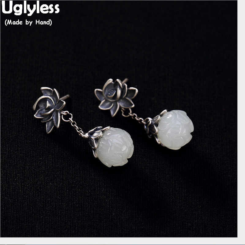 100% Real 925 Ethnic Thai Silver Lotus Flower Earrings Fashion Wind of China Chic Jade Lotus Earrings Gemstone Jewelry for Women
