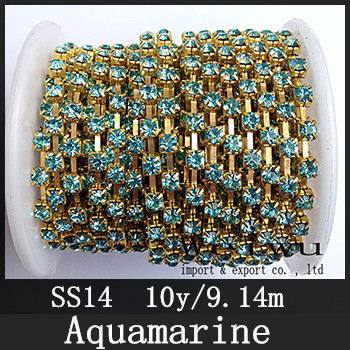 More Bright Rhinestone Cup Chain SS14 10 Yards Aquamarine Color Golden Base Sewing Strass Chain