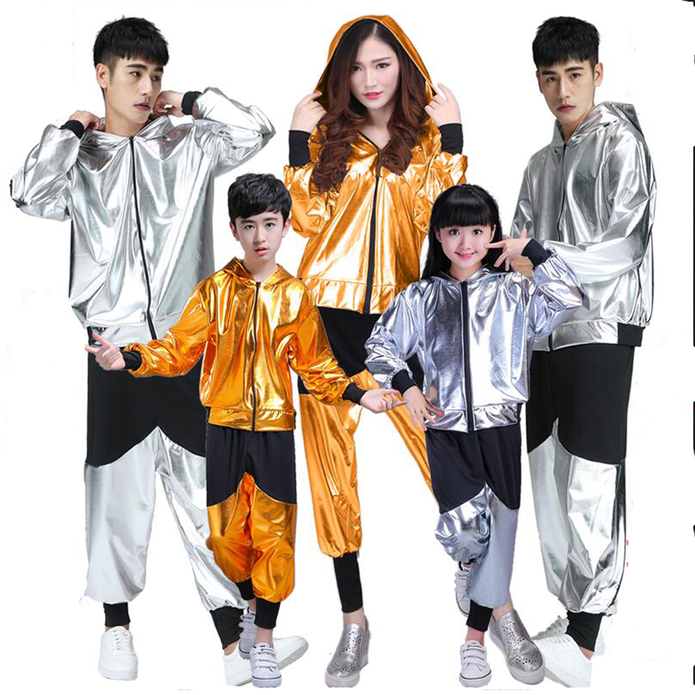 Kids Hip Hop Costume Children Adult Men Modern Jazz Dance Clothes Loose Long Sleeve Students Stage Performance Dancing Outfits