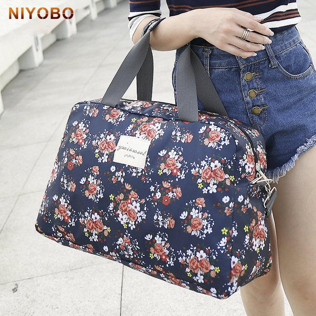 b26df4dc7bc1 Women Travel Bags Handbags 2018 New Fashion Portable Luggage Bag Floral  Print Duffel Bags Waterproof Weekend