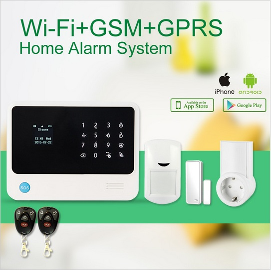 wifi gsm alarm system wireless GSM smart burglar alarm system APP remote control arm disarm smart socket control home compliance
