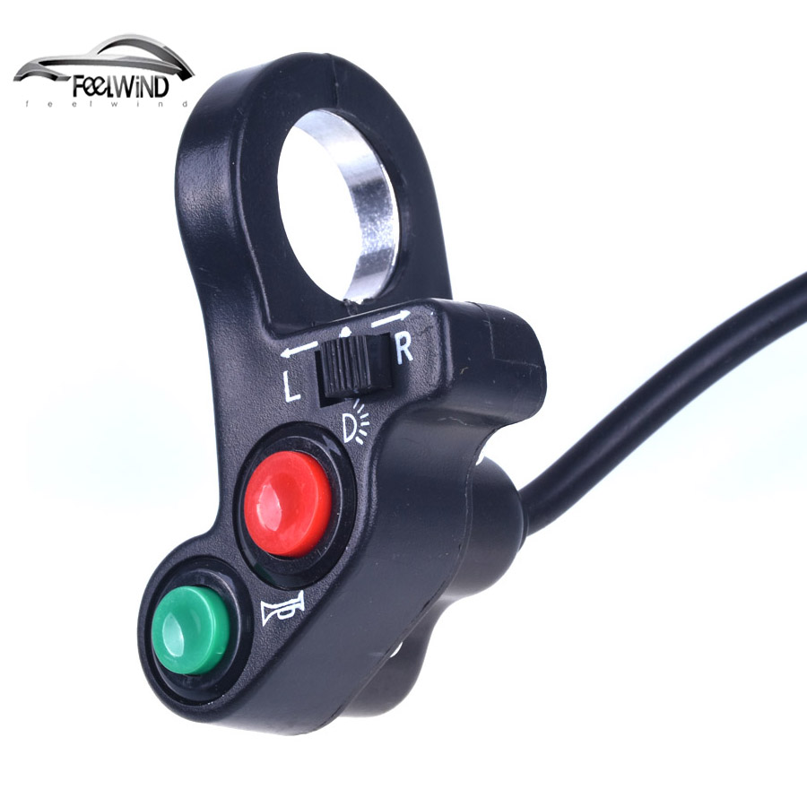 7/8 inch Motorcycle Scooter Dirt ATV Quad <font><b>Switch</b></font> Horn Turn Signals On/Off Horn Light <font><b>Handlebar</b></font> <font><b>Bike</b></font> Motorcycle Scooter <font><b>Switch</b></font> image