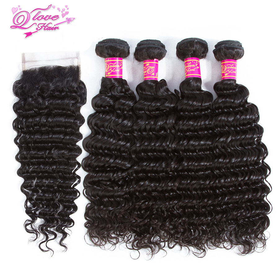 Queen Love Hair Brazilian Human Hair Deep Wave Bundles 4 Bundles With Closure Deep Wave Remy Human Hair Weave Natural Color