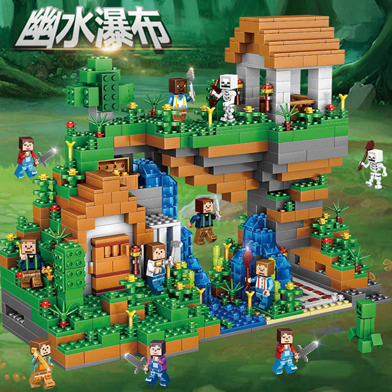 Christmas Minecraft World.New Legoings 957pcs Minecraft Waterfall My World Diy Model Building Blocks Kit Kids Education Toys Christmas Birthday Gifts