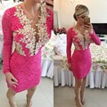 Long Sleeve 2016 New Summer Sexy Mini Short Hot Pink Beaded Lace Women Special occasion Party Cocktail Dresses robe de cocktail