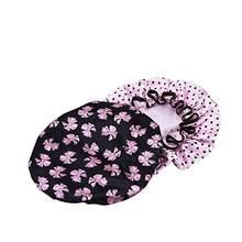 LUOEM 2 piezas mujeres ducha impermeable casquillo del baño con olla Diseño  de flores (mariposa negro con punto rosa) f55e25319df