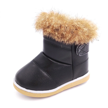 Baby Winter Boots Girls Baby Boys Snow Boots Kids Warm Plush Rabbit Fur Shoes Children Winter Boot for Baby Girl Boy 3 6t russia winter keeps warm snow kids girls clothes big fur hats down romper girls catsuit outdoor overalls for boy kids