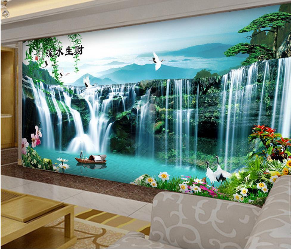 3d Room Wallpaper Landscape Waterfall Stereoecopic Wallpaper Papel