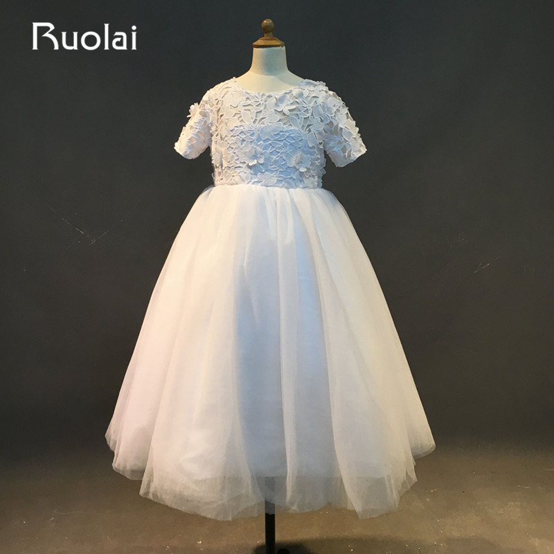 Real Photo New Arrival Scoop Short Sleeves Tulle with Appliques Tea-Length   Flower     Girls     Dresses   For Wedding Party ASAFN2