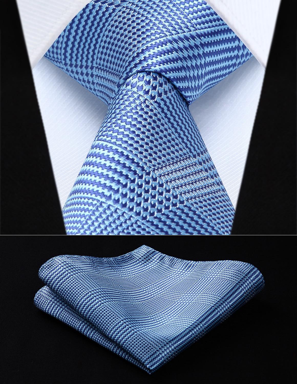 Party Wedding Classic Pocket Square Tie TC707B8S Blue Purple Check 3.4 Silk Woven Men Tie Necktie Handkerchief Set