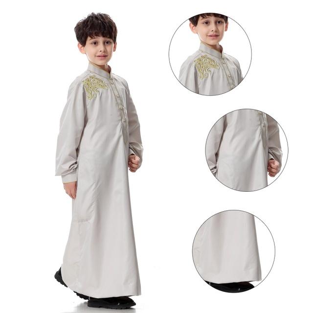 2017 Nova Daffah Dishdasha Islâmico Árabe Kaftan Thoub Criança Meninos Estilo Arábia Thobe Robe