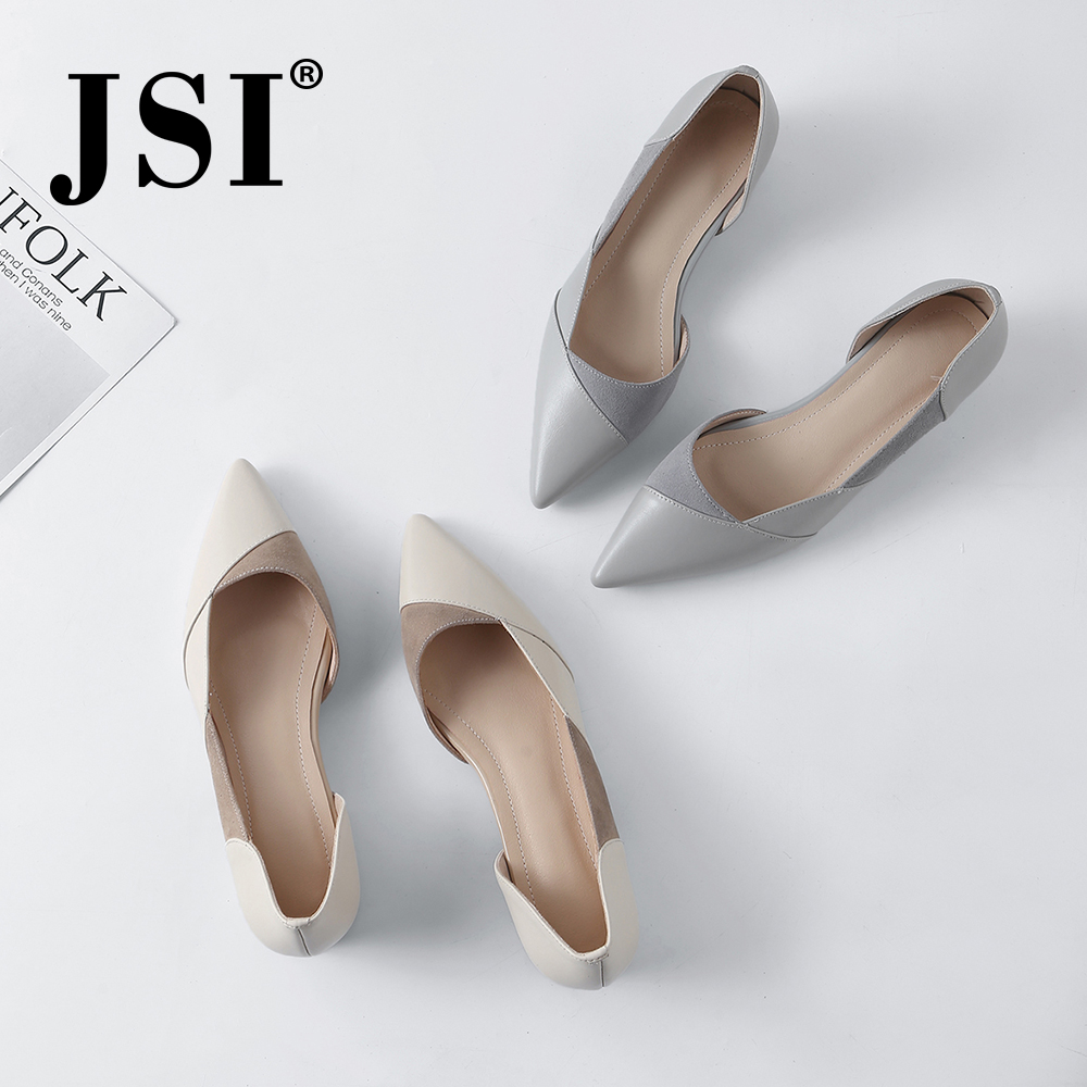 JSI Spring New Casual Women Pumps Quality Cow Leather Slip On Concise White Gray Lady Shoes