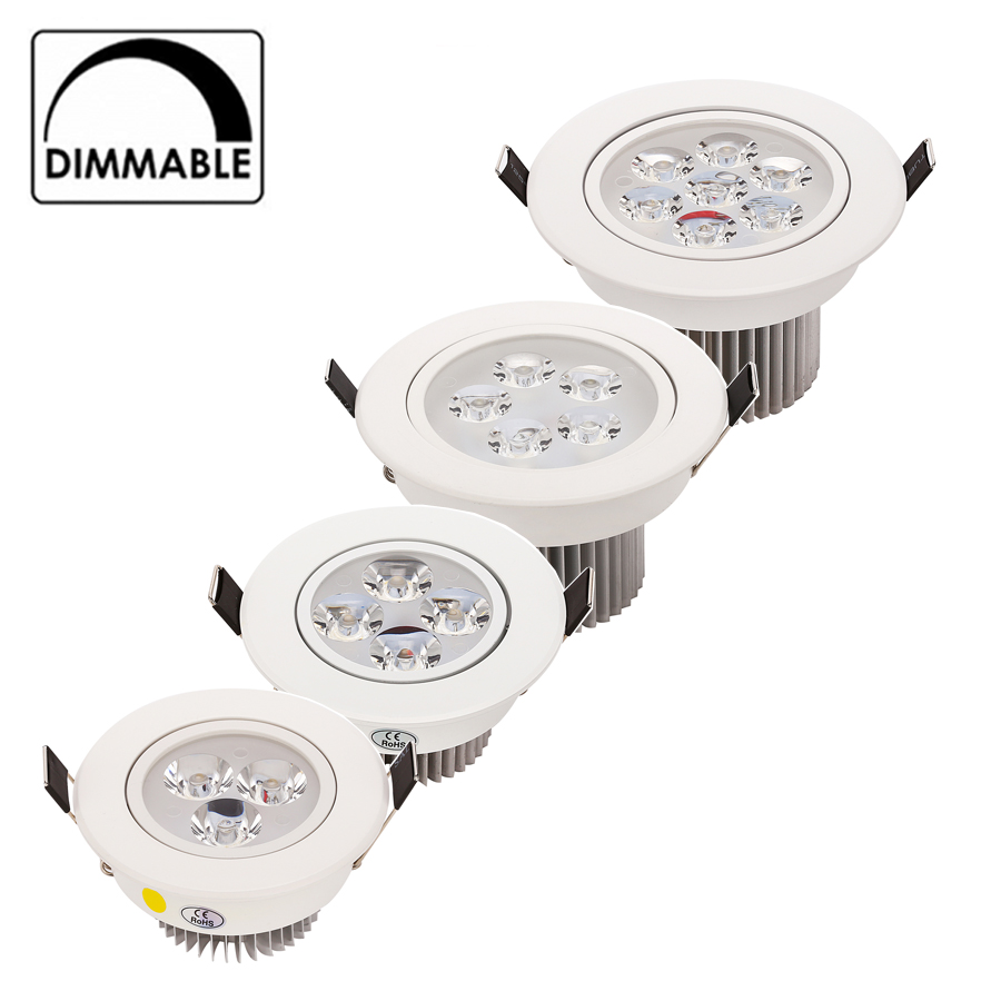 20pcs nouveau dimmable encastré downlight led 3W 4W 5W 7W gradation LED spot light led plafonnier AC 110V 220V