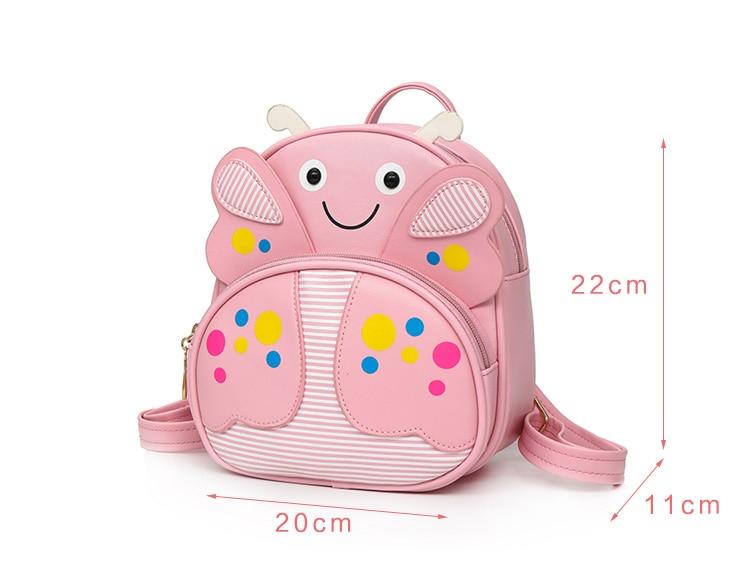 Mini Children PU leather Butterfly Backpack Kindergarten School Book Bag Bee Kawaii Pink Small Schoolbag For Toddler Kids Girls (58)