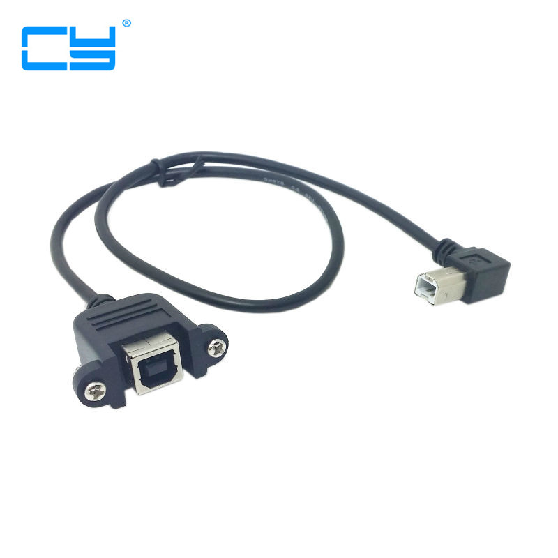 90 Degree Left Angled USB B Type Male to Female extension cable with screws for Panel Mount 50cm