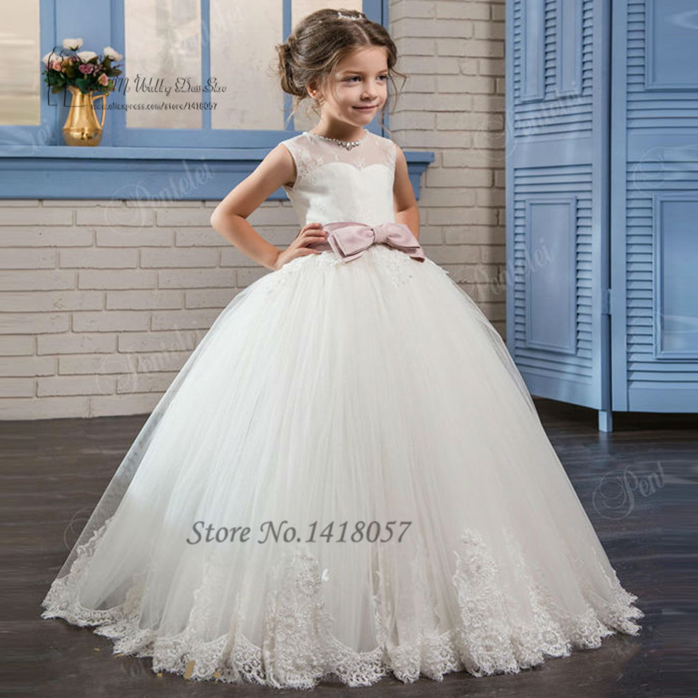 Cute Cheap Flower Girl Dresses For Girls 10 12 Lace Pink -2572
