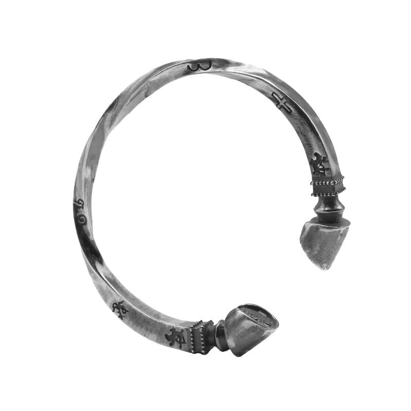 Витой Подкова манжеты браслет для Для женщин 100% твердых стерлингового серебра 925 ручной работы античный тайский серебро Для женщин jewelry под...