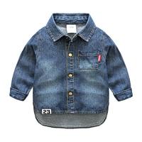 Baby Boys Denim Shirts Kids Long Sleeve Blouse boy Spring Autumn casual shirt 2T 10