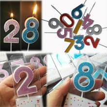 Number Birthday Candles 1 2 3 4 5 6 7 8 9 0 Gold Sliver Kids Birthday Candles for Cake Party Supplies Decoration Cake Candles(China)