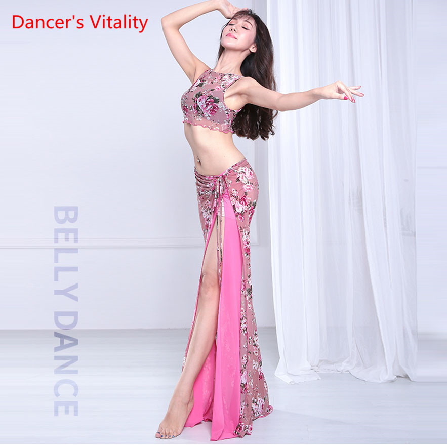 Women Belly Dance Suit Sexy Mesh Dress Long Skirt Oriental Dance Competition Set Top+Skirt 2pcs Adult Pink
