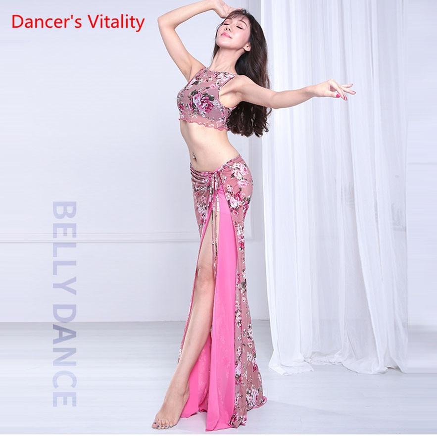 Women Belly Dance Suit Sexy Mesh Dress Long Skirt Oriental Dance Competition Set Top+Skirt 2pcs Adult Pink