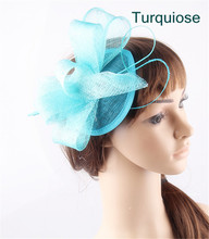 Hot Lady Girl Lovely Hair Clip sinamay party Hat Fascinator fancy feather Pillbox Hat Fascinator Hair