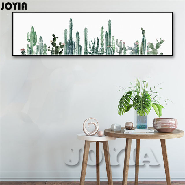 Large Watercolor Tropical Plants Wall Art, Wall Decor Cactus Art Canvas  Poster, Modern Huge Painting Print For Living Bedroom