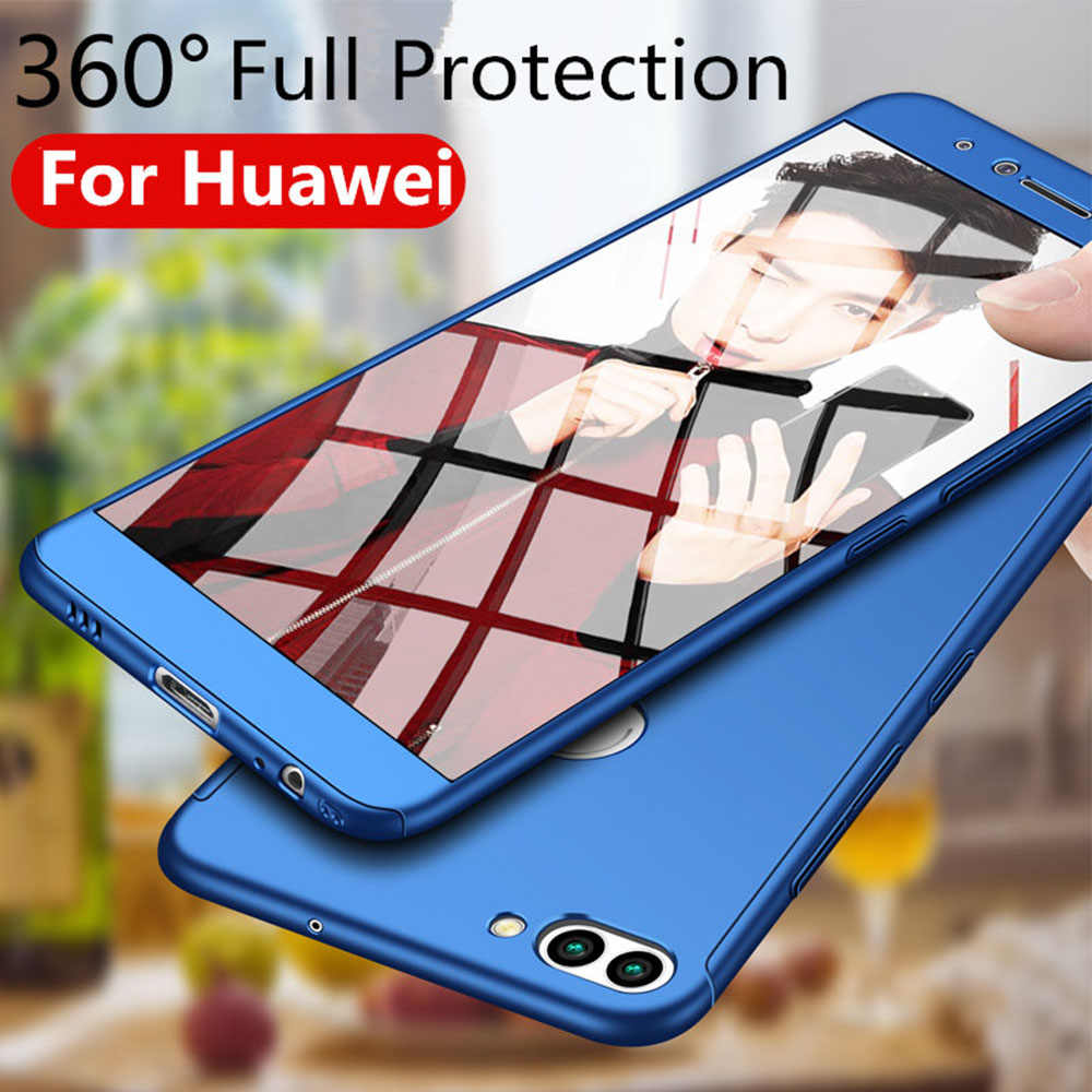 360 Degree Case with Tempered Glass for Huawei Mate 9 10 Pro P8 P9 P10 Lite Y6 Y7 2017 Nova 2i 2 Plus Case for Honor 6X 7X 8 9