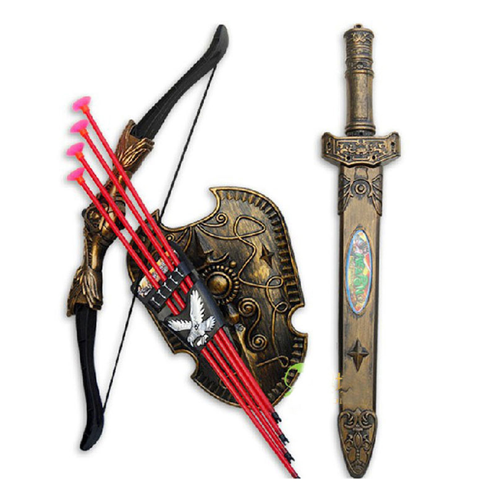 Children Toys Plastic Sword Shiled Bow and Arrow Combo Simulation Archery Toy Set Christmas New Year Gift