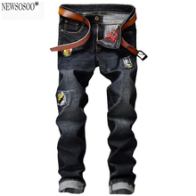 Newsosoo 2017 модельер мужская повседневная дыру разорвал джинсы Мужские тонкий прямой патч джинсовые брюки Длинные брюки черный MJ63