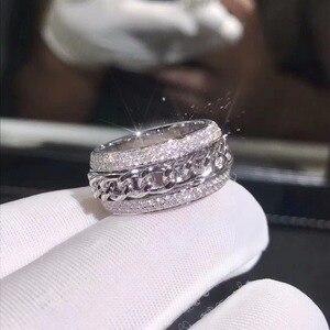 Image 2 - Bague en zircone CZ, blanche claire et rotative pour mariage, superbe, bijou de luxe nouveauté en argent Sterling 925, pour femmes, superbe