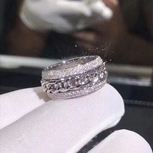 Image 2 - Sparkling New Arrival Luxury Jewelry 925 Sterling Silver Stunning 5A Clear White Zirconia  CZ Women Wedding Rotatable China Ring