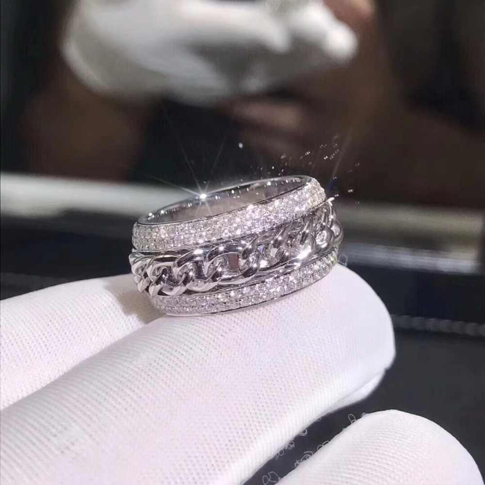 Sparkling New Arrival luksusowa biżuteria 925 Sterling Silver wspaniałe 5A jasne biały cyrkon CZ kobiety Wedding obrotowy chiny pierścień