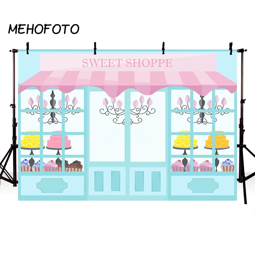 MEHOFOTO Candy Bar Photo Backdrop Sweet Shoppe Birthday Theme Party Decoration Photography Background for Photo Studio