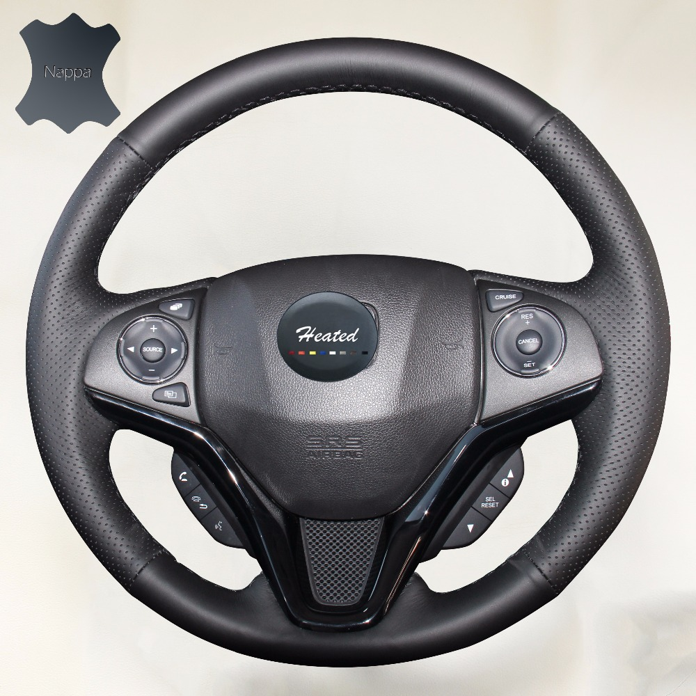 Hand sewing leather on car steering wheel cover for honda new fit city jazz 2014