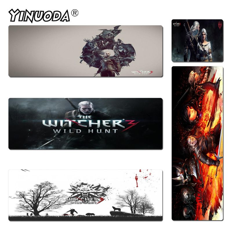 Yinuoda New Designs The Witcher 3 Rubber Mouse Durable Desktop Mousepad Size for 180*220 200*250 250*290 300*600 and 400*900*2mm