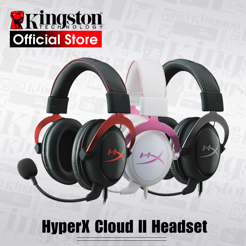 Kingston HyperX Cloud II Hi Fi Gaming Headset Gun Metal Pink Red Headphones